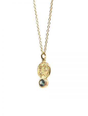 Galaxy Forces Pendant Necklace – Yellow Gold & Teal Sapphire