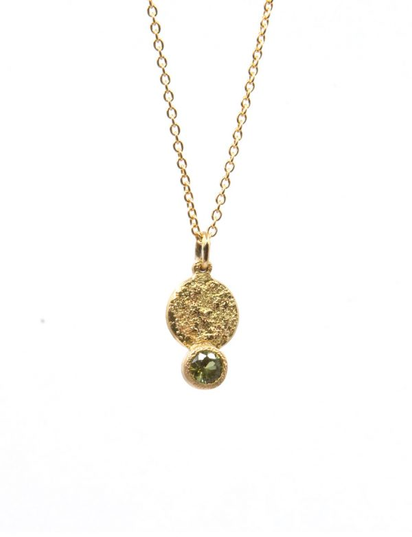 Galaxy Forces Pendant Necklace – Yellow Gold & Lime Sapphire
