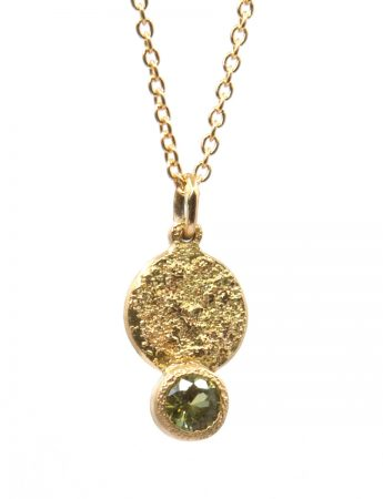 Galaxy Forces Pendant Necklace - Yellow Gold & Lime Sapphire