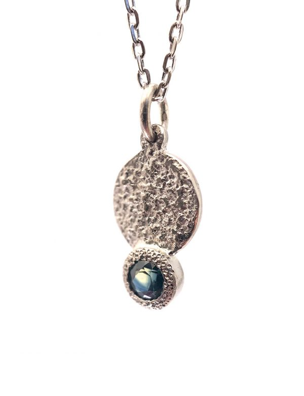 Galaxy Forces Pendant Necklace – White Gold & Teal Sapphire