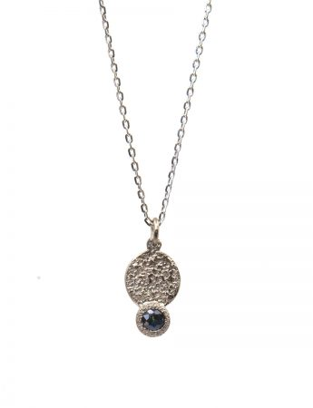 Galaxy Forces Pendant Necklace - White Gold & Teal Sapphire